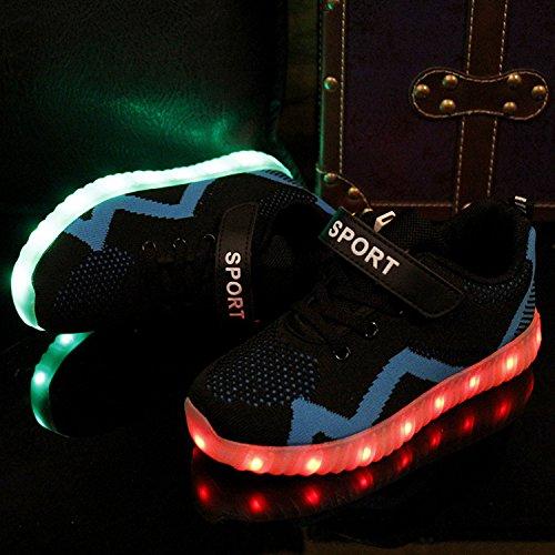 Gaorui Kinderschuhe Licht emittierende LED Lade Jungen Mädchen bunte leuchtende Schuhe Turnschuhe Gitter blinken PU Leder Blau