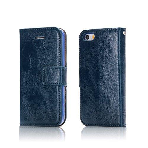 EKINHUI Case Cover Verrückte Pferd Textur Abnehmbare Design PU Leder Geldbörse Tasche Tasche mit Kartensteckplätzen für iPhone 5 & 5s & SE ( Color : White ) Blue