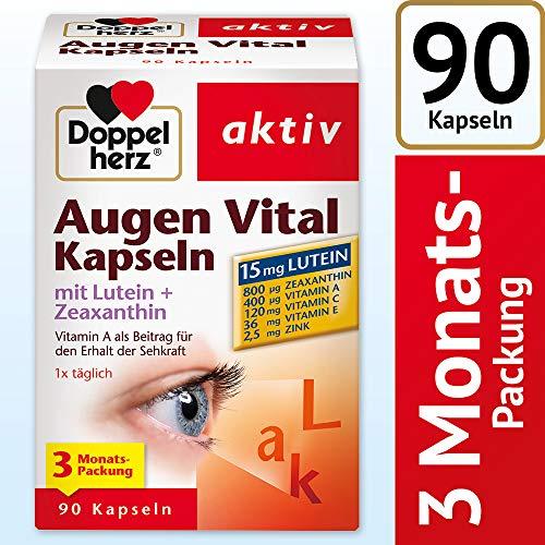 Doppelherz Augen Vital Kapseln mit Lutein + Zeaxanthin/ 3-Monats-Packung/ Nahrungsergänzungsmittel mit Vitamin A und Zink als Beitrag für den Erhalt der Sehkraft - plus Vitamin C & E/ 1x90 Kapseln
