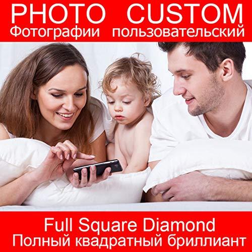 ei-Gewohnheit 5D Diamant-Malerei-Privates Foto-Mosaik Daimond-Anstrich-Gewohnheit Fertigen EIN Unvergessliches Geschenk Besonders An-80x100cm ()