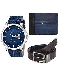 Laurels Cp-inc-603-blk-0302-vt-0209 Combo (Analog Blue Dial Men's Watch with Blue wallet & Belt)