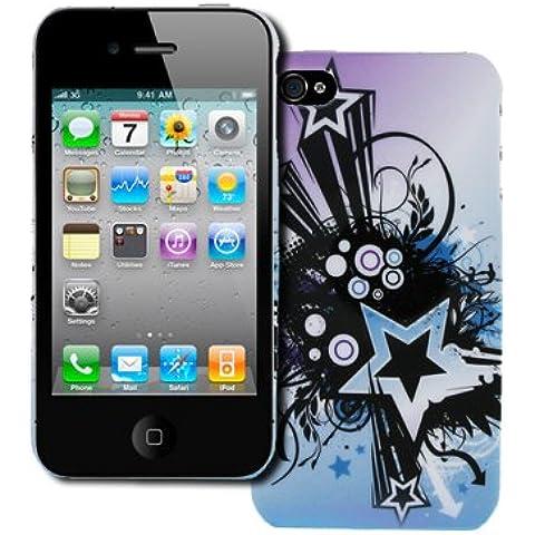 Empire Custodia per Apple Iphone 4/4S, design (Viola e Blu starburst) [Confezione Empire]