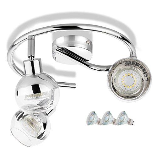 SEBSON® Plafonnier 3 Spots inkl. GU10 Ampoule LED 3,5W (remplace 30W), blanc chaud, 300lm