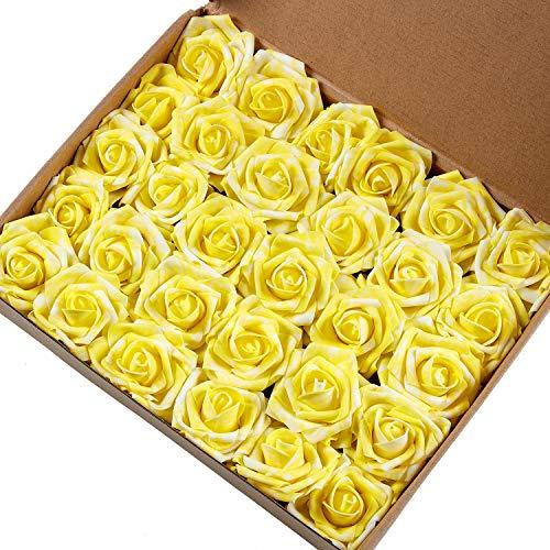 Marry Handeln Künstliche Blumen Rose, 30Stück Echte Touch Künstliche Rosen für Heimwerker Sträuße Hochzeit Party Baby Dusche Home Decor Gelb/Weiß (Gelbe Rosen Künstliche)