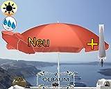 Großer Sonnenschirm mit Hülle, 200 cm / Ø 2,00 m (rot lachsrot orange), Sonnendach Schirm, XXL Strandschirm, 8-teilig / 8-eckig massiv, Bespannung mit 160 g / m² robust, Strandschirm, XXL-Schirm, Gartenschirm extrem wetterfest, faltbar, tragbar, seewasserfest, hochwertig robust stabil, Sonnenschutz, stabiler Schirm Schirm, dunkelrot lachsrot orange, Strandschirme, Sonnenschirme, Sonnenschirm-Tische, Regenschirm Picknickschirme