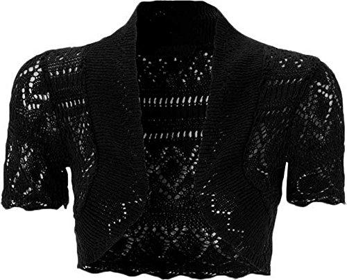 Kurze Damen-Strickjacke, gehäkelt, vorne offen, kurze Ärmel, Strick-Bolero Gr. 38-40, schwarz