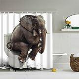 ZXZ-GO Duschvorhang Polyester Mehltau Beweis Wasserdicht Elefanten Muster Bad Zubehör Bad Dekor mit 12 Kunststoff Haken Multi Size, 100 x 180 cm