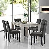 [en.casa]® Set de comedor elegante mesa de diseño roble con 6 sillas gris oscuro - 140x90cm