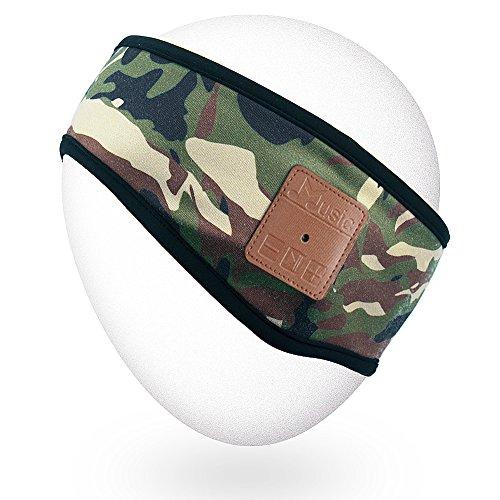 Qshell Winter Unisex Wireless Bluetooth Stirnband Stereo Lautsprecher Mikrofon Hände frei für Lifestyle Outdoor Sport Walking Jogging, kompatibel mit Iphone Android Wireless Ipod Stereo