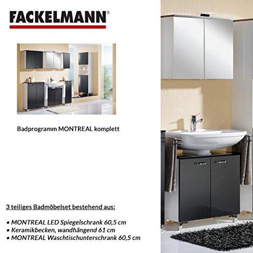 Fackelmann Badmöbel Set Montreal 3-tlg. 60 cm grafitgrau mit Waschtisch Unterschrank & Keramikbecken & LED Spiegelschrank