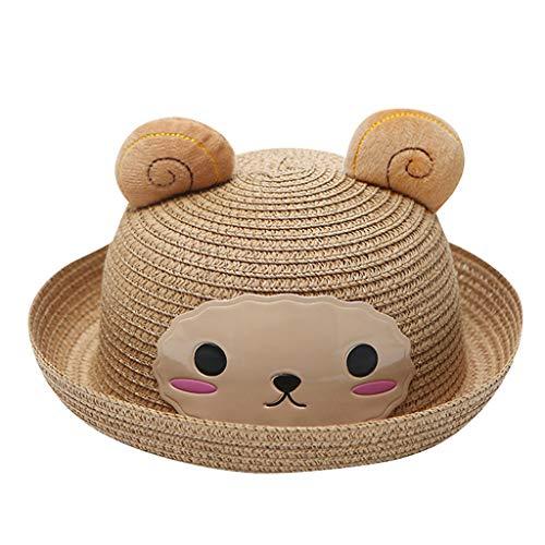 Sanahy Baby Kids Kappe Hut Kind Karikatur Sonnencreme Crimpen Strohhut Strand Hase Hut Kleiner Zylinder Visier - Roll Hals Pullover Kleid