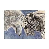 Riou DIY 5D Diamant Painting voll,Stickerei Malerei Crystal Strass Stickerei Bilder Kunst Handwerk für Home wand Decor gemälde Kreuzstich Tier-Serie Alter Mann Tiger Wolf Bild Muster (Mehrfarbig C, 40*30cm)
