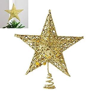 EisEyen 25cm Metal Estrella Árbol de Navidad árbol de Navidad Brillante Oro Plata Rojo