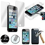 VComp-Shop® 2x Hochwertige gehärtete Panzerglasfolie Vorderseite + Rückseite für Apple iPhone 5/ 5S/ SE - TRANSPARENT