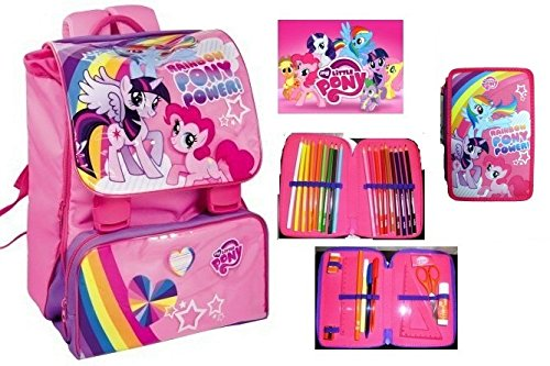 MY LITTLE PONY ZAINO ESTENSIBILE SCUOLA TEMPO LIBERO SCHOOL PACK DISNEY CON ASTUCCIO 3 ZIP