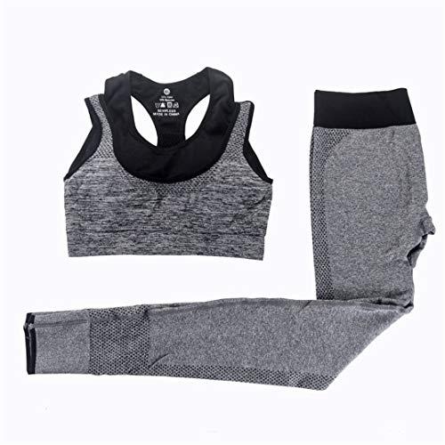 BDSGHAKE 2 stücke Frauen Yoga Sets Fitness Sport BH + Yoga Hosen Leggings Set, Gym Laufen Sport Anzug 0093 Gray L - Calvin Falten Anzug