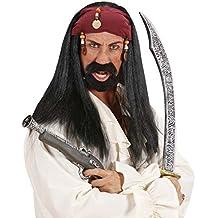 Jack Sparrow peluca pirata peluca con Bandana y perlas Piratas Fasching peluca Mar Ladrones pelo negro peluca de pelo largo Zigeuner pirata Señor peluca corsario Carnaval Disfraz Accesorio