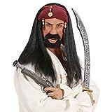 Jack Sparrow Perücke Piratenperücke mit Bandana und Perlen Piraten Faschingsperücke Seeräuber Haare Schwarze Langhaarperücke Zigeuner Pirat Herrenperücke Freibeuter Karneval Kostüm Zubehör