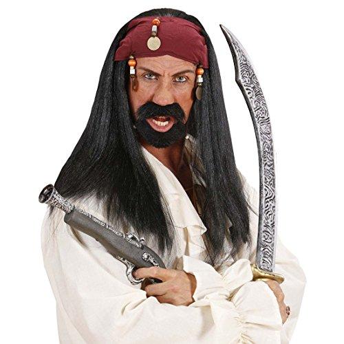 Jack Sparrow Perücke Piratenperücke mit Bandana und Perlen Piraten Faschingsperücke Seeräuber Haare Schwarze Langhaarperücke Zigeuner Pirat Herrenperücke Freibeuter Karneval Kostüm ()