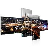 Bilder Köln Wandbild 200 x 100 cm Vlies - Leinwand Bild XXL Format Wandbilder Wohnzimmer Wohnung Deko Kunstdrucke Braun 4 Teilig -100% MADE IN GERMANY - Fertig zum Aufhängen 601541c