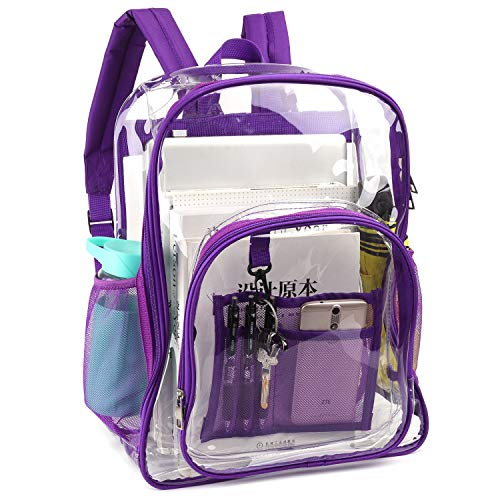 Robuster und wasserdichter PVC Clear Schultaschenrucksack mit seitlicher Netztasche für Kinderschule, im Freien, auf Reisen - Lila
