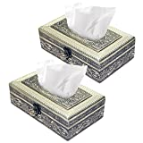 #4: 2 pack Rectangular Attractive Handmade wooden fecial tissue box/ napkin holder for home,office and car Automative Decoration