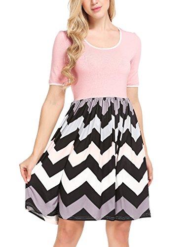 Meaneor Damen Skaterkleid Basic Kleid A-Linie Kleid Mit Gestreift Rock O-Ausschnitt Stretch  Größe:  EU 40(Herstellergröße: L),  Farbe: Y+Pink+streifen -