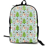 Holiday Pattern Ice Blue Adult Premium Travel Backpack, Water-Resistant College School Bookbag, Sport Daypack, Outdoor Rucksack, Laptop Bag for Men&Women