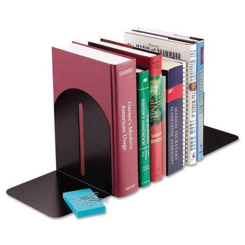 STEELMASTER Fashion Steel Bookends, 1 Pair, 5.9 x 7 x 5 Inches, Black (241017104) by STEELMASTER