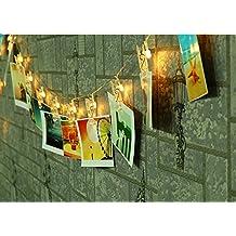 NNIUK 20 LED Foto Clip luci della stringa luci decorazioni a batteria natale per le foto note grafica decorazione wedding casa (bianco caldo).