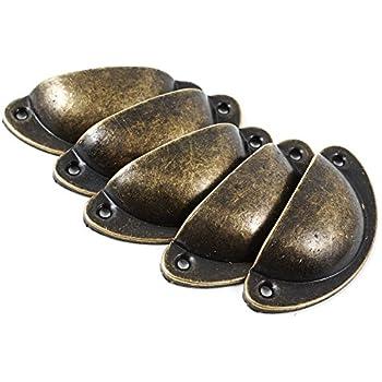 Supkeyer Lot de 20 poign/ées et boutons en forme de coquille avec vis Bronze 8 x 3 x 2 cm bronze