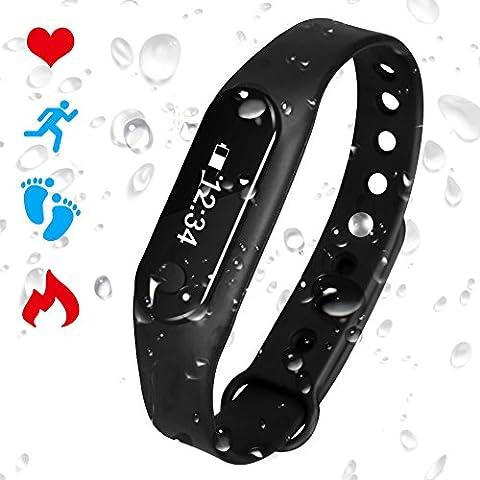 Bracelet Connecté Cardiofréquencemètre Podomètre Calories Sommeil Tracker d'Activité Bluetooth 4.0