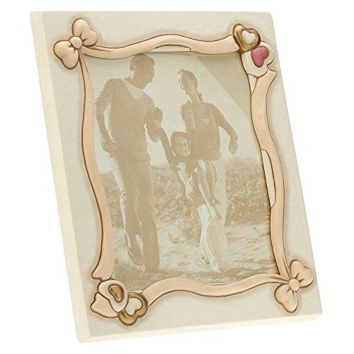 Thun c2006a80 portafoto maxi da parete/appoggio cuore, ceramica, avorio, 38.5 x 41.7 x 7 cm