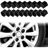 Larcele Silicona rueda de tuerca de la tuerca cubre 19mm 20 piezas LSBHT-01 (Negro)