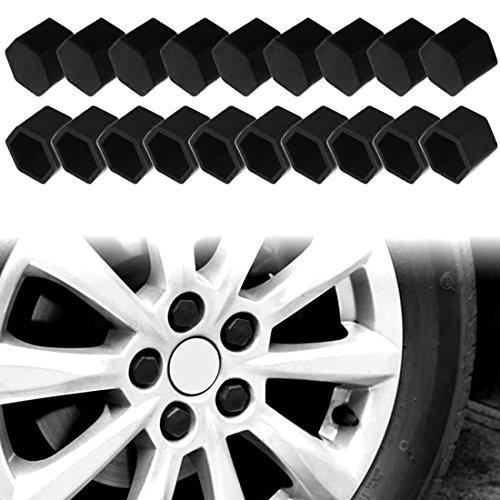 Larcele Silicone Couvercle de Boulon de Roue de Voiture Pneus Vis Capuchon 21mm 20 Pièces LSBHT-01 (Noir)