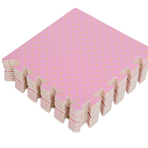 Zerone Puzzlematte,Schaumstoffmatte,Bodenschutzmatten aus Eva-Schaum für Kinderzimmer,Fitnessraum(30 x 30 x 1,0 cm,Rosa)