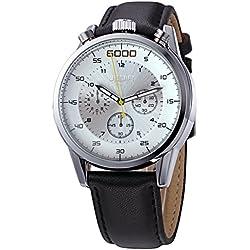 YPS Men Number Nail Shape Scale Quartz Movement Multifunction Sub Dials Luminous Wristwatch WTH5373