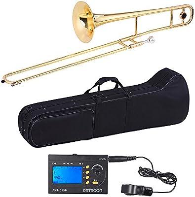ammoon Tenor Trombone Latón Laca Dorada Bb Tono B Plano con ammoon AMT-01GB Sintonizador Metro 3in1