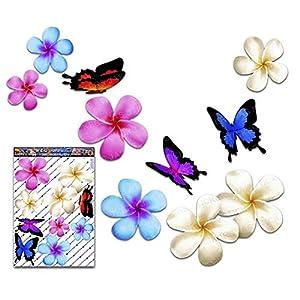 Frangipani Plumeria groß Mehrfarben Doppel Blume + Schmetterling Tier Pack Auto Aufkleber - ST00024MC_LGE - JAS Aufkleber