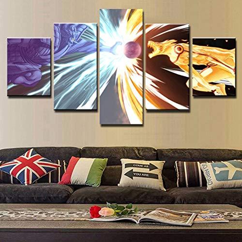 FJLOVE Bild auf Leinwand Naruto Manga Endlich Schlacht beenden 5 Teilig Wanddekoration Wand Canvas Die Bilder Kunstdruck,Frameless,150x80cm
