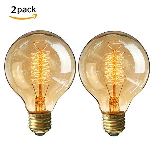 KINGSO 2x E27 Retro Edison Glühbirne Globe Glühlampe 40W Vintage birne Warmweiß dimmbar bulb Filament Fadenlampe Ideal für Nostalgie und Antik Beleuchtung (40 W Glühbirne)