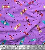 Soimoi Lila Baumwolljersey Stoff dot & Süßigkeiten