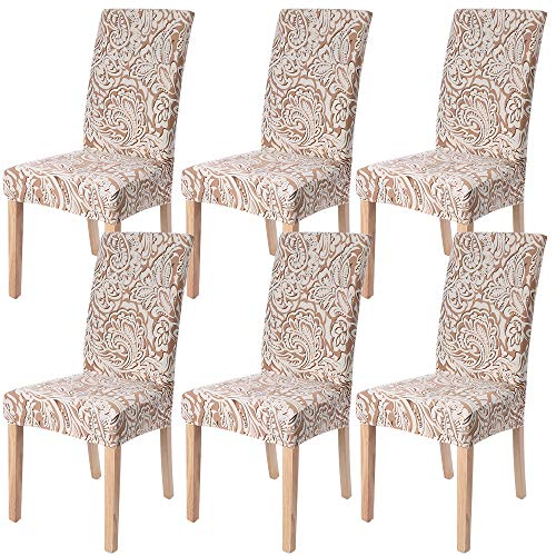 Ivyshion 6 x coprisedia con schienale coprisedie sala da pranzo copertura della sedia fodere sedie protettivo spandex elastico lavabile elasticizzato, ristorante, hotel,nozze,banchetto
