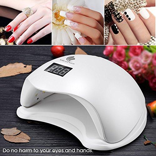 36W UV LED Nagellampe Maniküre/Pediküre Nageltrockner mit 4 Zeiteinstellungen- Perfekt für Nagelstudios zum Trocknen oder Polieren von Nägeln und Gel- Trocknet Fingernägel und Zehnägel samt 2 KOSTENLOSEN Nagelfeilen - 9
