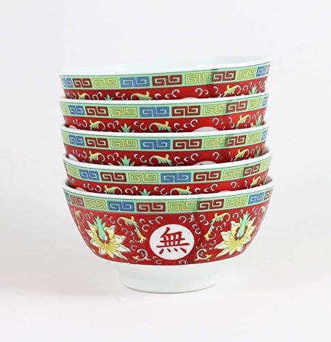 Cuenco para Sopa o Arroz, Rojo con 10.000 Deseos, Juego de 5 de 11,5 cm de Diámetro