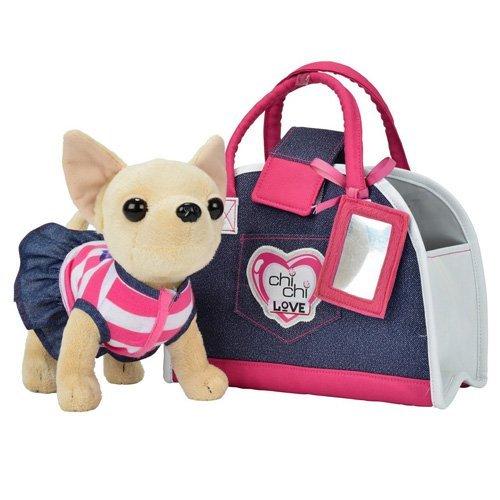 """Simba 105890599 - Chihuahua peluche """"Chi Chi Love Denim"""", con borsetta da trasporto"""