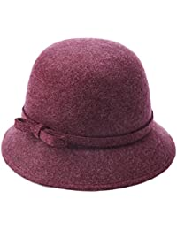 ... Sombreros y gorras   Gorros de punto   YSHU. TYGRR Sombrero De Fieltro  Señoras De Otoño E Invierno Sombrero De Lana Al Aire Libre Sombrero a474b8ef3af