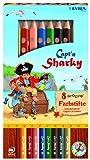 Lyra 3811086 Captn Sharky 8 groove Farbstifte - dicke Buntstifte