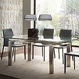 M-029 Tisch, ausziehbar, aus Glas und gebürstetem Stahl, Lilia-Design
