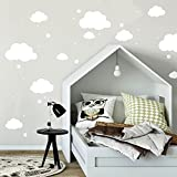 Wandtattoo mit Wolken Sterne & Punkte in weiß Kinderzimmer Wanddeko Wandgestaltung M2334 ilka parey wandtattoo-welt